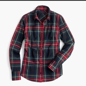 JCrew holiday plaid perfect fit shirt